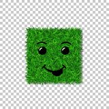 Green grass square field 3D. Face smile. Smiley grassy icon, isolated white transparent background. Ecology concept. Smiling sign. Symbol eco, nature, safe Royalty Free Stock Photography