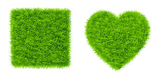 Green grass square and heart Royalty Free Stock Photography