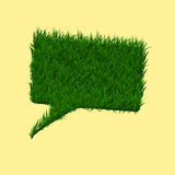 Green grass square speech bubble. Summer and spring concept. Royalty Free Stock Image