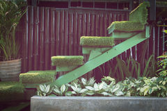 Green grass staircase in garden, interior decoration Royalty Free Stock Photography