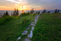 Green grass and stone path with sunset Stock Image