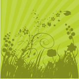 Green Grass and Sunbursts. Illustration background Royalty Free Stock Image