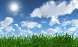 Green grass with a sunny blue sky. 3D render of lush green grass with a sunny blue sky Stock Photos