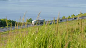 Green grass sways in the background road with riding trucks and cars. Slow motion stock video