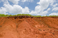 Green grass on top of clay hill and blue sky Stock Images
