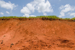 Green grass on top of clay hill and blue sky Stock Photography