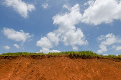 Green grass on top of clay hill and blue sky. Animals eating area,Salt lick Stock Photo