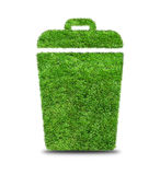 Green grass  trash can isolated on white. Stock Images