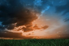 Green grass under blue and orange sky Stock Photo