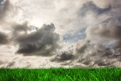 Green grass under grey sky Stock Photos
