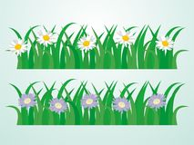 Green Grass Vector Illustration with Some Flower. Grass vector, grass cartoon, flower vector, flower cartoon, isolated grass vector illustration Stock Photo