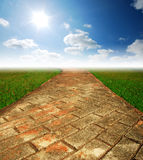 Green grass way. On the grass background cloud cloudy royalty free stock photos