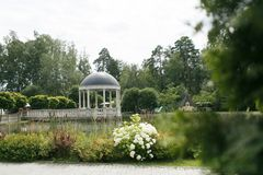 Gazebo near the pond royalty free stock photography