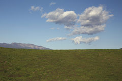 Green grass, white puffy clouds and Topa Topa Mountains Stock Images
