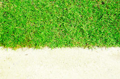 Green grass and white sand Royalty Free Stock Photography