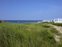 Grass covered dunes protect access to ocean seen in the distance. Green grass, white walkway, blue sky, sunny stock images