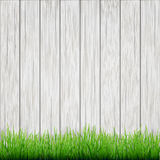 Green grass on white wood boards  background Stock Images
