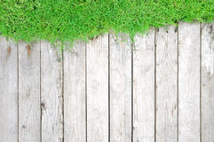 Green grass and wood plank - natural background Stock Image