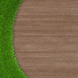 Green grass on wooden background Stock Photos