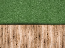 Green grass with wooden floor Royalty Free Stock Photo