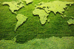 Green Grass World Map Stock Images