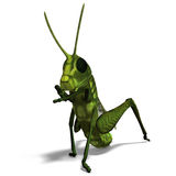 Green grasshopper. 3D rendering of a green grasshopper with clipping path and shadow over white Stock Images