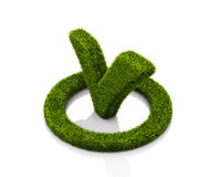 Green grasssy check mark symbol in the circle on white background Stock Photos