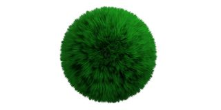 Green grassy hair ball isolated cut out against white background. 3d illustration stock photography