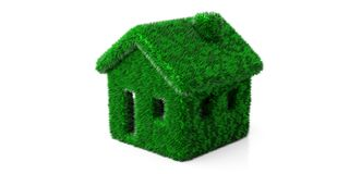 Green grassy hair house isolated cut out against white background. 3d illustration stock photos