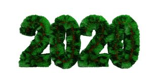 Green grassy hair 2020 isolated cut out against white background. 3d illustration stock photo