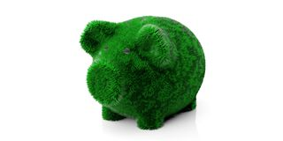Green grassy hair piggy bank isolated cut out against white background. 3d illustration stock photo