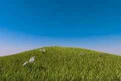 Green grassy hill. blue sky Stock Images