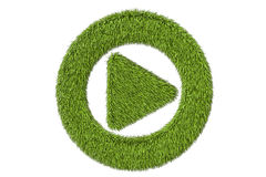 Green grassy media player button, 3D rendering Royalty Free Stock Image