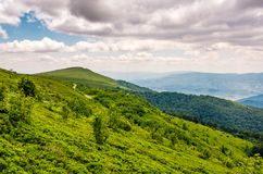 Green grassy slope of Runa mountain ridge. Gorgeous landscape of Ukrainian Carpathians on cloudy summer day Stock Photo
