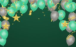 Green and gray balloons illustration. Confetti and ribbons flag royalty free illustration