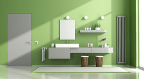 Green and gray bathroom Stock Images