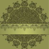 Green, Gray and Black Pattern with Lace Ribbon Stock Images