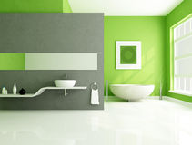 Green and gray contemporary bathroom. Contemporary bathroom with sandstone bathtub and white sink-rendering Royalty Free Stock Images