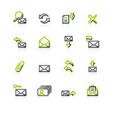 Green-gray e-mail icons Stock Photos