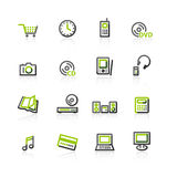 Green-gray e-shop icons Royalty Free Stock Images