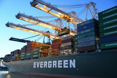 Green and Gray Evergreen Cargo Ship stock image
