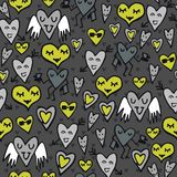 Green gray funny hearts on dark Royalty Free Stock Photo