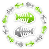 Green and gray glossy fish bone background. With light shadow effect Stock Images