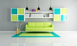 Green and gray living room Stock Photo