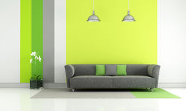 Green and gray living room Royalty Free Stock Image