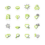 Green-gray love icons Royalty Free Stock Images