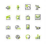 Green-gray media icons Stock Images