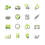 Green-gray medicine icons Royalty Free Stock Photos