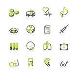 Green-gray medicine icons. Contour vector icons, green-gray series