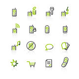 Green-gray mobile phone icons Royalty Free Stock Photography